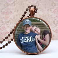 Personlized Photo Necklace Custom Glass Photo Pendant Vintage Copper Necklace - 30mm - Choose Color
