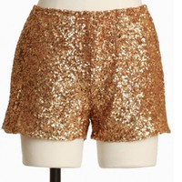starry symphony sequined shorts in gold : Bottoms at ShopRuche.com, Vintage Inspired Clothing, Affordable Clothes, Eco friendly Fashion
