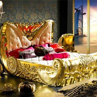 French Luxury Furniture Unique Conch Shaped Golden/silver Bed Cv29 - Buy Conch Shaped Bed,Unique Golden/silver Bed,French Luxury Bed Product on Alibaba.com