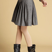 gray wool mini skirt with leather look patchwork waist (461)