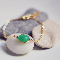 Apple green mint Chrysoprase Vermeil gold frame gemstone bracelet by YUNILIsmiles