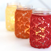 Set of 3 QUART SIZE Hand Knit Lace Mason Jar Vase Lantern Wedding Decor