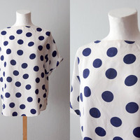 White silk blouse with blue dots by ZvezdanaVintage on Etsy