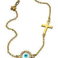 Round Evil Eye and Cross Bracelet - Max and Chloe