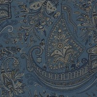 Nautical ship fabric night  blue toile Indian paisley from Brick House Fabric: Novelty Fabric
