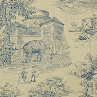 Victorian zoo toile fabric blue from Brick House Fabric: Novelty Fabric