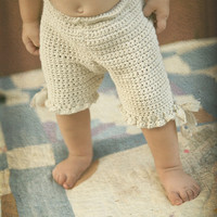 Organic Baby Bloomers with Raw Linen Ties   Eco by joretta on Etsy