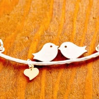 Love Birds Necklace - valentine's jewelry, be my valentine, couple necklace, heart necklace, love necklace, gifts for her