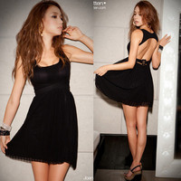 Womens Sexy Backless Pleated Little Black Mini Dress