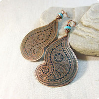 Copper earrings paisley by RadhikaJewelry on Etsy