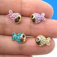 Small Gold Fish Animal Stud Earring Set of 4 Pieces with Rhinestones