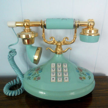 Vintage Blue Telephone Empress Push Button by houseofheirlooms