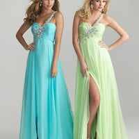 Blue Chiffon Beaded One Shoulder Prom Dress - Unique Vintage - Cocktail, Pinup, Holiday & Prom Dresses.