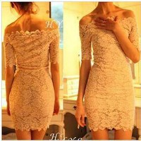 Off the Shoulder Lace Mini Dress