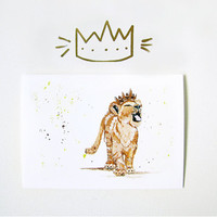 Lion King Inspired Art Greeting Card - Simba - Crown - Blank Card - Birthday - Fairytale