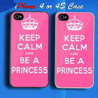 Keep Calm And Be A Princess Pretty Pink Custom iPhone 4 or 4S Case Cover from namina