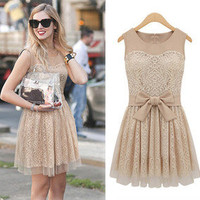 Celebrity Style Womens Elegant Lace Sleeveless Chiffon Dress
