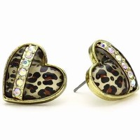 "Betsey Johnson ""Status"" Leopard Heart Stud Earrings: Jewelry: Amazon.com"