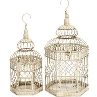 New Set/2 White Metal Hexagon Parakeet Birds Cages 21&quot; | eBay