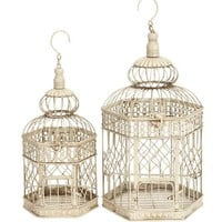 New Set/2 White Metal Hexagon Parakeet Birds Cages 21"
