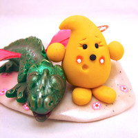 Don&#x27;t Wake the Dragon Parker - Polymer Clay Mythical Beast StoryBook Scene Sculpted Figurine
