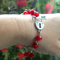 Red Valentine Bracelet, Lock and Key clasp with red crystal beads and large link chain jewellery