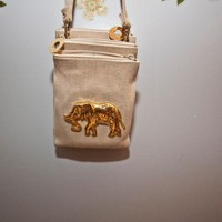 canvas and gold elephant purse