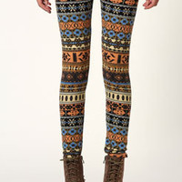 Kelly Multiprint Mustard Brushed Knit Leggings