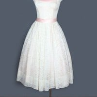 1960's Ivory & Pink Chiffon Lace Party Dress - M VINTAGE WEDDING DRESSES & BRIDAL GOWNS 50's 60's :