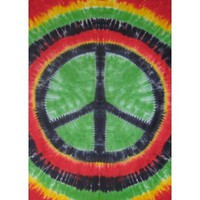 Rasta Tie-Dye Peace Sign Tapestry Wallhanging 60x90