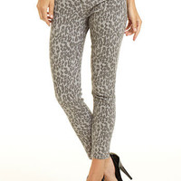 Gray Cheetah Print Stretch Skinny Jean at Alloy