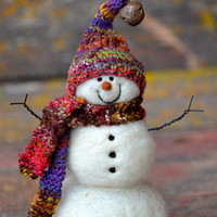 Snowman - Wool Needle Felted Snowmen - Holiday decor - 185