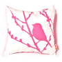 Hot Pink Print on White Cotton Bird on Cherry Blossom Mini 10.5 Inches Square Pillow