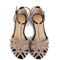 Jeweled Netted Flat Sandals - 2020AVE