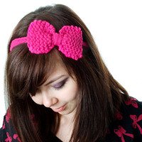 Cute Knit Headband - Knitted Hot Pink Bow More colours available