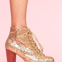 Lita Platform Boot - Gold Glitter in Shoes at Nasty Gal