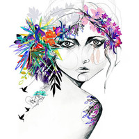 Exotic Girl // FASHION ILLUSTRATION A5 print