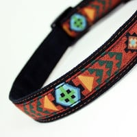 Dog Collar, Tribal 148, Tan, Aqua, Turquoise, Green