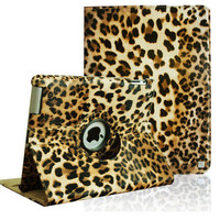 The New iPad 3/ iPad 2 Leopard 360 Rotating Magnetic PU Leather Case Smart Cover