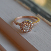 Engagement ring diamond ring 0.7ct VS1 Champagne diamond ring 14k rose gold