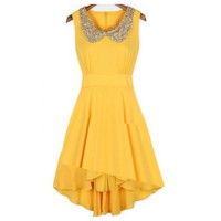 Beautiful Sleeveless Collar dress in Yellow