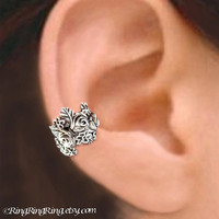 925 Rose Garden - Sterling Sliver ear cuff earring jewelry - non pierced flower earcuff 011013