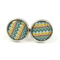 Aztec Earring Studs - Tribal Earring Posts -  Geometric Earrings - Multicolored Earrings - Native American Pattern