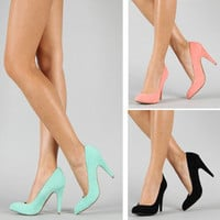 Pretty Classic Pointed Toe Pumps 80s Fashion Trend Pastel Suede Mint Coral Black