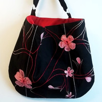 Black Tote  Embroidered Tote bag  Red and black pink by ACAmour