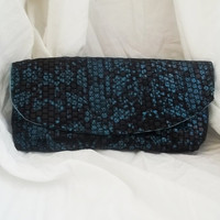 Small clutch  Dark Blue faux snake skin clutch  blue by ACAmour