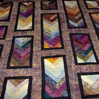 Full Size Bed Quilt Autumn Braid Pattern 84 x 86 by KQCreations