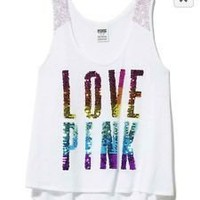 NWT NEW Victoria's Secret Limited Edition Rainbow Bling PINK Tank Top Small