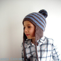 Child Hat Earflap Beanie  Walnut with Dusty Blue by daisiescrochet