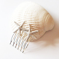 Starfish Hair Comb - Silver Beach Bridal Hair Accessory - Destination Beach Theme Weddings - Cute Elegant Romantic Whimsical Dreamy Mermaid
